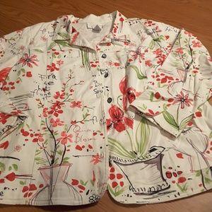 Susan Graver style white floral jacket size 1X
